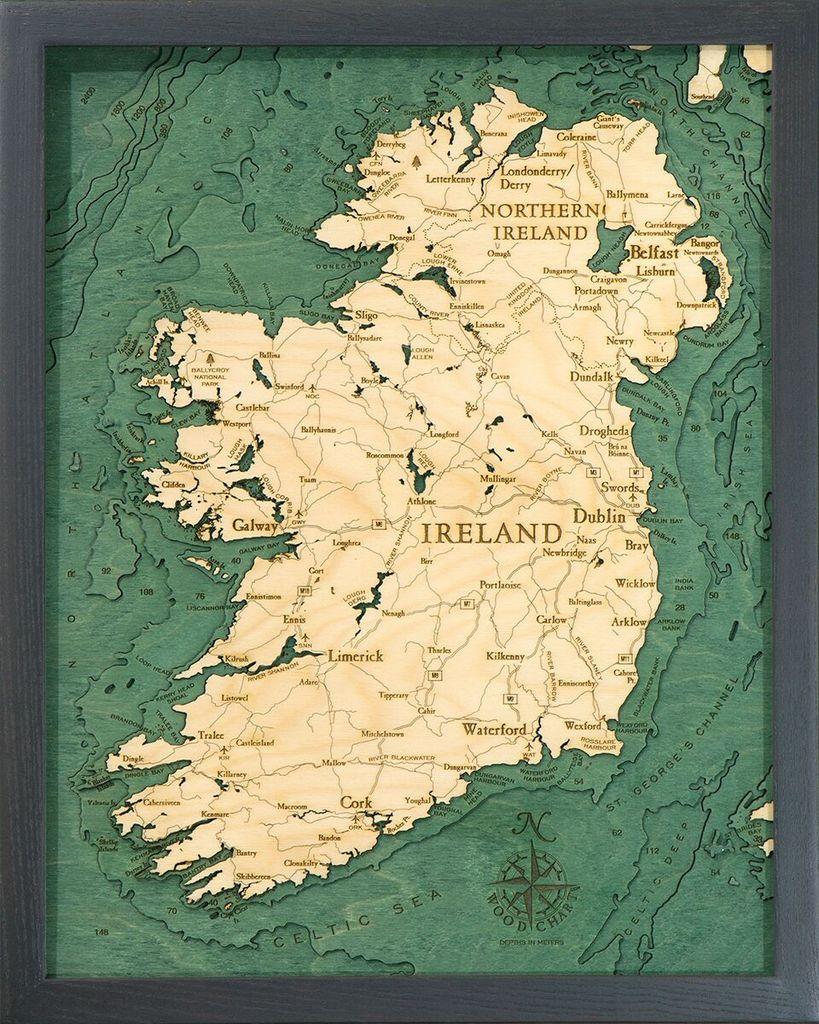 Michael Enterprises Inc. / WoodChart Ireland 3-D Nautical Wood Map, 16x20in.