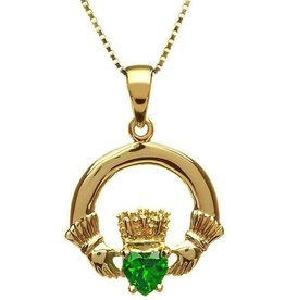 10kt Yellow Claddagh Pendant with Green CZ