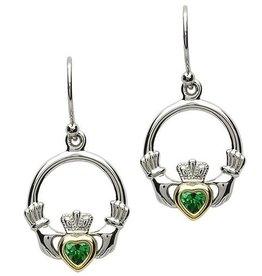 S/S Emerald CZ Claddagh Earrings