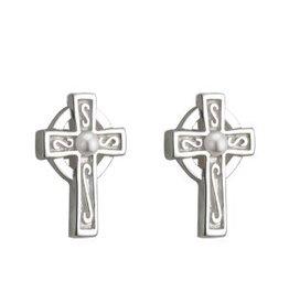 Communion Cross w/ Pearl Stud Earrings