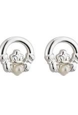 Communion Claddagh & Pearl Stud Earrings