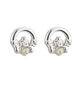 Communion Claddagh & Pearl Stud Earrings