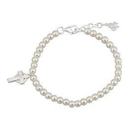Communion Pearl & Cross Bracelet