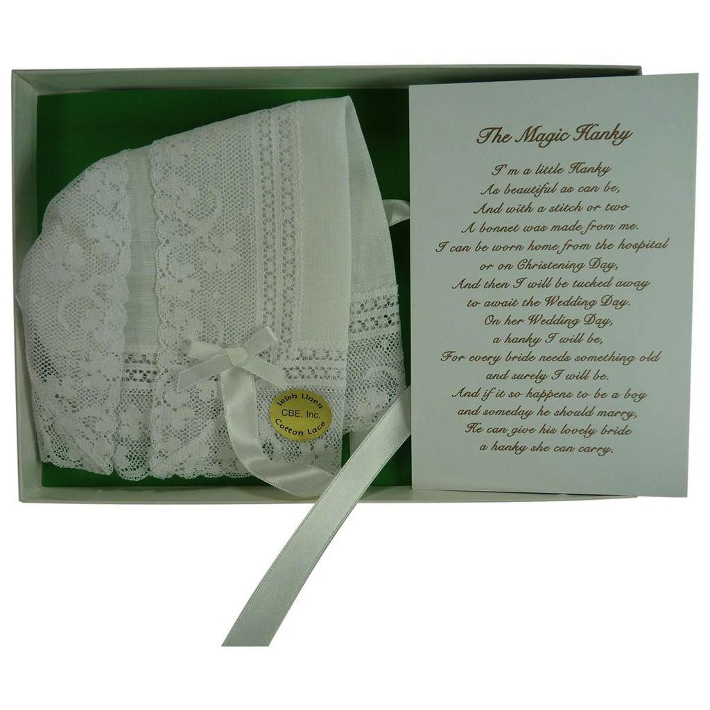 Magic Baby Bonnet - Irish Linen with Shamrock Lace Edge