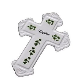 "Shamrock Porcelain ""Baptism"" Cross"