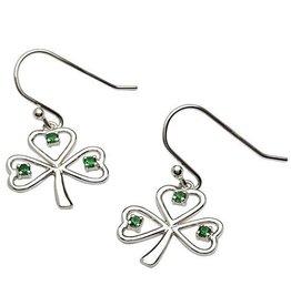 S/S Green CZ Shamrock Earrings