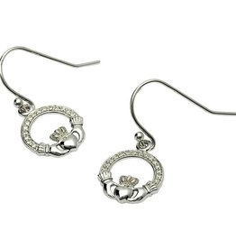 S/S Pave Set Claddagh Earrings