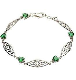 S/S Trinity Green Heart Bracelet