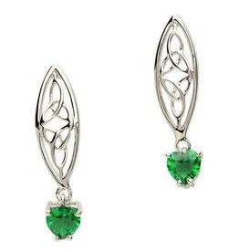 S/S Trinity Green Heart Earrings