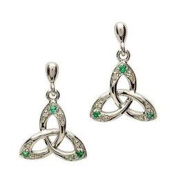 S/S Emerald/Diamond Trinity Earrings