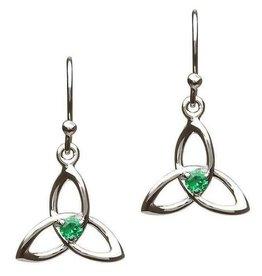 S/S Green CZ Trinity Earrings