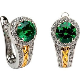 S/S Round Halo Green CZ Earrings