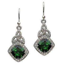S/S Cushion Halo Green CZ Earrings