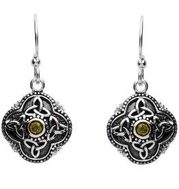 S/S Peridot Celtic Drop Earrings