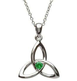 S/S Green CZ Trinity Knot Pendant