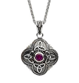S/S Small Amethyst Celtic Tribal Trinity Necklace