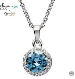 S/S SW Halo Aquamarine Necklace