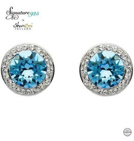 S/S Swarovski Halo Aquamarine Earrings