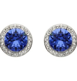S/S Swarovski Halo Sapphire Earrings