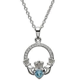 S/S March Claddagh Birthstone Necklace with Swarovski Crystal