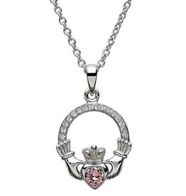 S/S June Claddagh Birthstone Necklace with Swarovski Crystal
