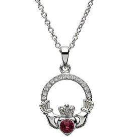 S/S February Claddagh Birthstone Necklace with Swarovski Crystal