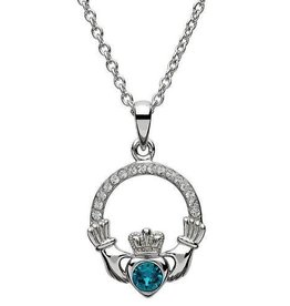 S/S December Claddagh Birthstone Necklace with Swarovski Crystal