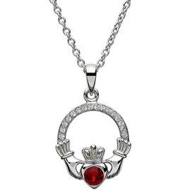 S/S January Claddagh Birthstone Necklace with Swarovski Crystal