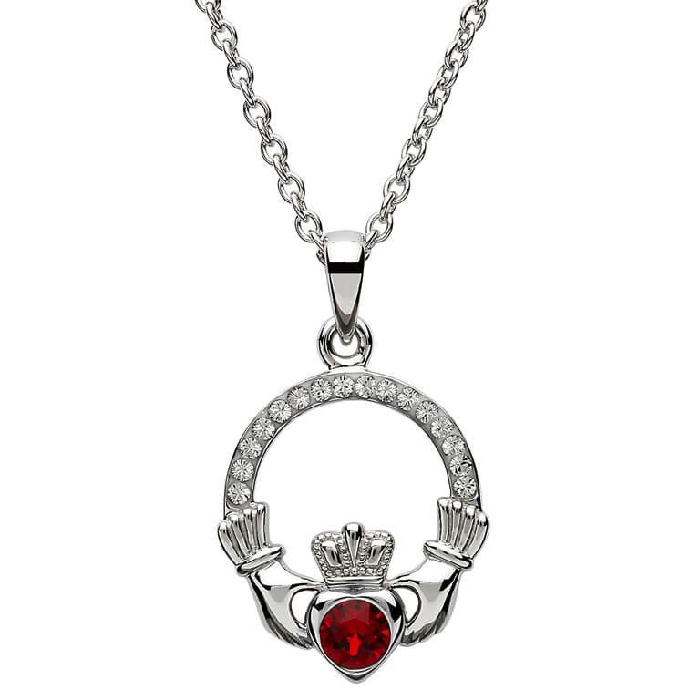 S/S January Claddagh Birthstone Necklace with Swarovski Crystal