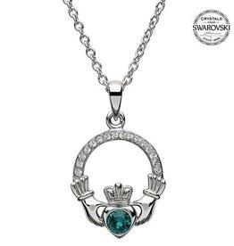 S/S May Claddagh Birthstone Necklace with Swarovski Crystal