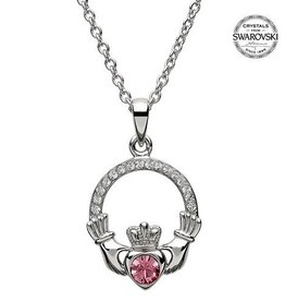 S/S October Claddagh Birthstone Necklace with Swarovski Crystal