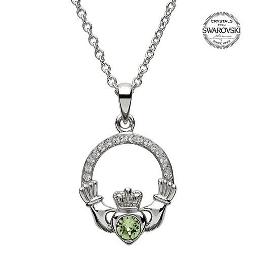 S/S August Claddagh Birthstone Necklace with Swarovski Crystal