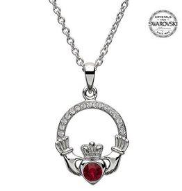 S/S July Claddagh Birthstone Necklace with Swarovski Crystal