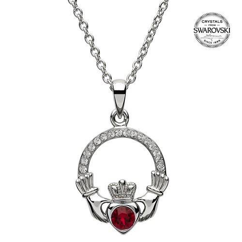 S/S July Claddagh Birthstone Necklace with Swarovski Crystal