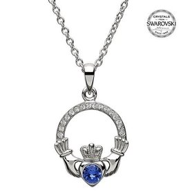 S/S September Claddagh Birthstone Necklace with Swarovski Crystal