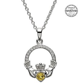 S/S November Claddagh Birthstone Necklace with Swarovski Crystal