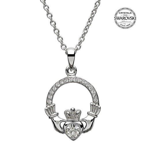 S/S April Claddagh Birthstone Necklace with Swarovski Crystal