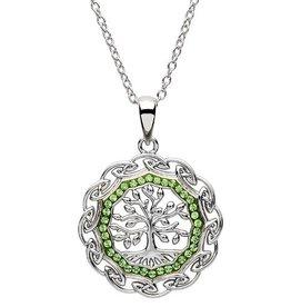 S/S Peridot Swarovski Tree of Life Necklace
