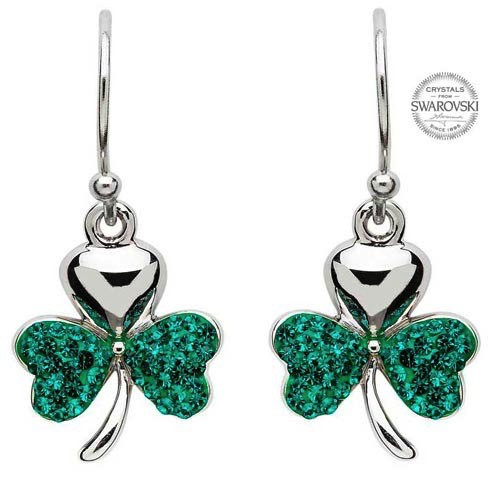 S/S Green Swarovski Shamrock Earrings