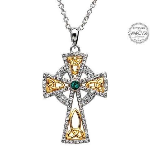 S/S White/Green Swarovski Celtic Cross Pendant
