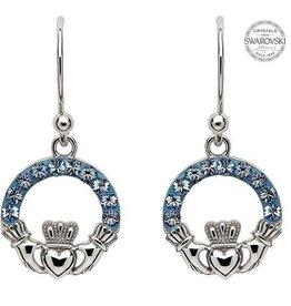 S/S Light Sapphire Swarovski Claddagh Drop Earrings