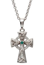 S/S White/Green Swarovski Celtic Trinity Knot Cross
