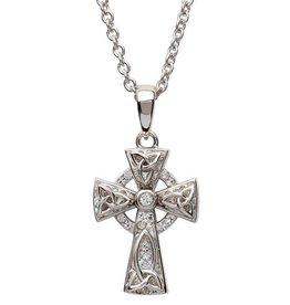 S/S Swarovski Celtic Trinity Knot Cross