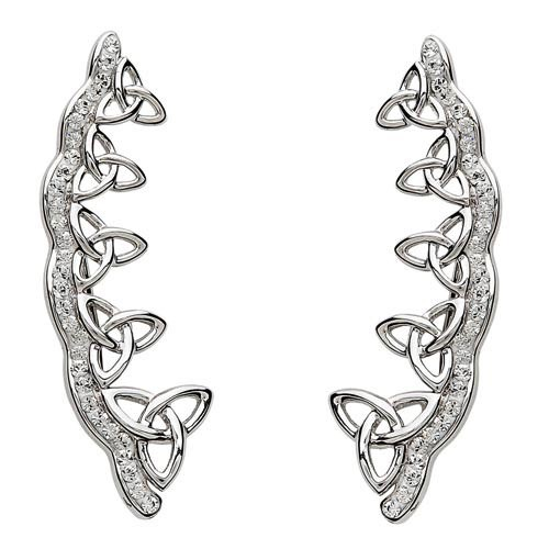 S/S Swarovski Trinity Knot Climber Earrings
