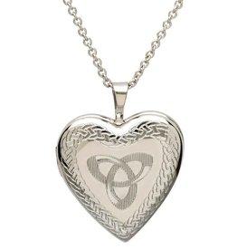 S/S Heart Locket with Trinity Knot