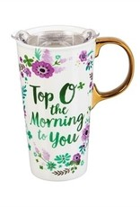 Evergreen Enterprises Top O' The Morning Ceramic Travel Cup with Metallic Accents
