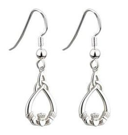 S/S Claddagh Trinity Drop Earrings