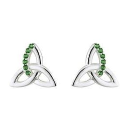 S/S Green Crystal Trinity Stud Earrings