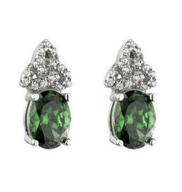 S/S Green CZ Trinity Knot Stud Earrings