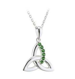 S/S Green Crystal Trinity Pendant